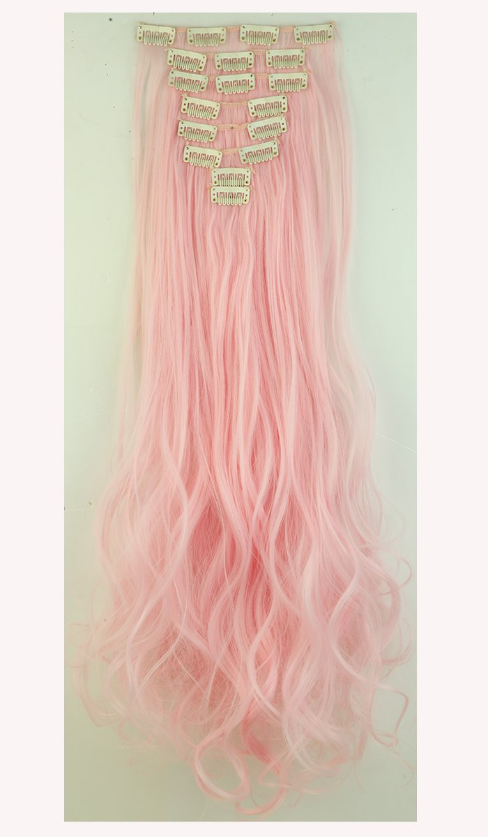 """Stylish 24""""(61cm) Full Head Clip in Hair Extensions 8 Piece 18clips Curly Light Pink"""