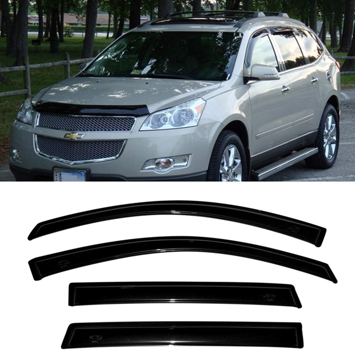 US-Visors 2009-2017 Chevy Traverse In-Channel Window Vent Visors Rain Guards