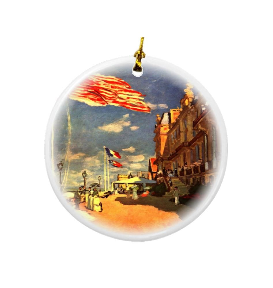 Rikki Knight Claude Monet Art The Hotel of Roches Noires Design Round Porcelain Two-Sided Christmas Ornaments
