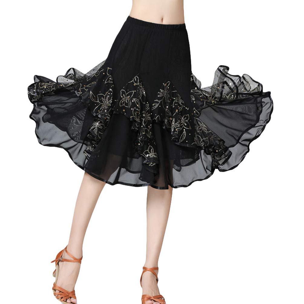 Zenbang Women Elegant Tango Skirt Sequins Floral Dance Ballroom Waltz Big Swing Practice Performance Skirts
