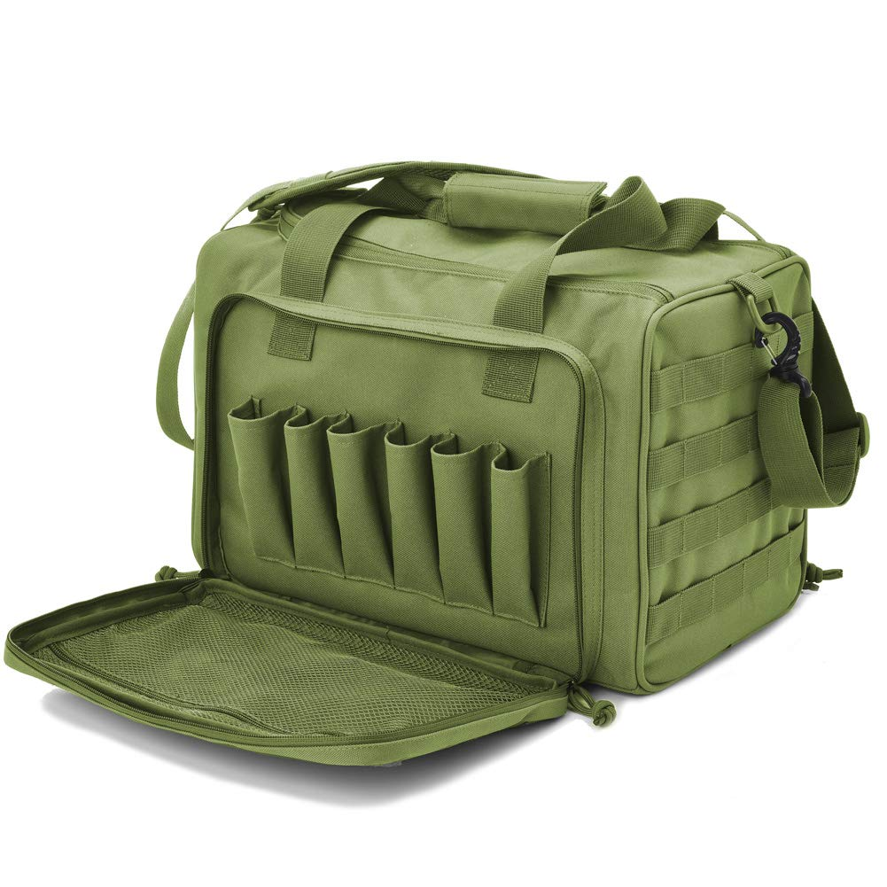 Tactical Gun Shooting Range Bag, Deluxe Pistol Range Duffle Bags Army Green by REEBOW TACTICAL