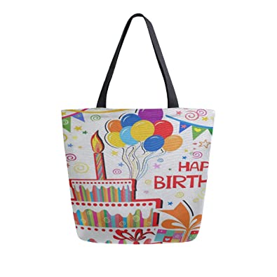 Amazon.com: Happy Birthday - Bolsas de lona de doble cara ...