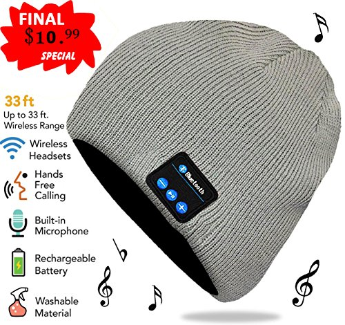 Bluetooth Beanie, Rechargeable Unisex Wireless Beanie Hat with Control Panel, Removable Headphones, Charges via USB (French Grey)