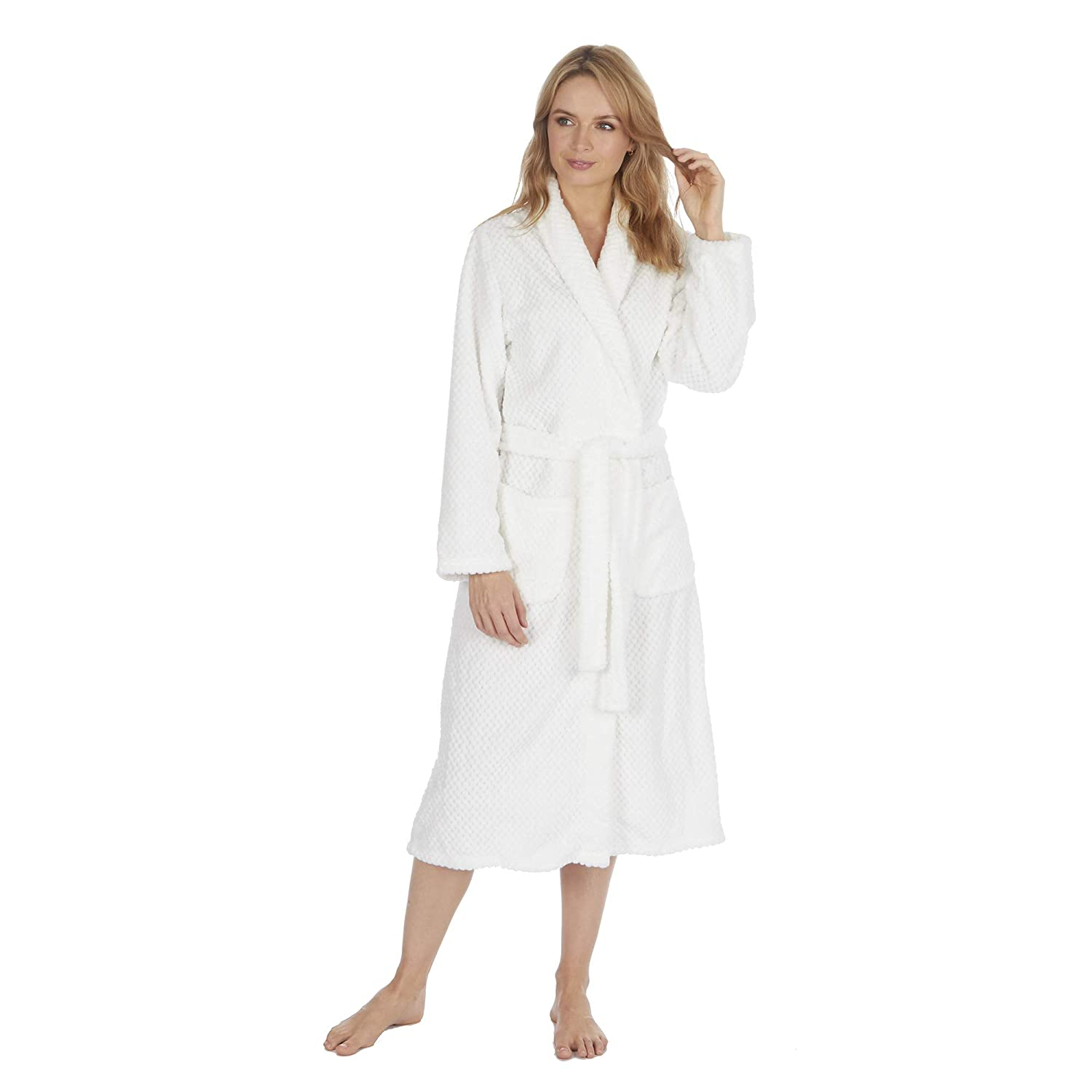 Ladies Star Print Dressing Gown Metzuyan Sizes S-XL Soft Fluffy Fleece Robe with Hood
