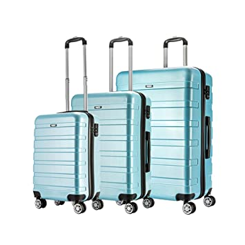 AMASAVA-Set of Tres Maletas Juego de Maletas Rígidas,Candado TSA, ABS+PC,4 Ruedas multidireccional, Azul: Amazon.es: Equipaje