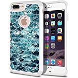 FINCIBO iPhone 7 Plus / 8 Plus Case, Dual Layer Shock Proof Hybrid Hard Protector Cover Anti-Drop TPU Rhinestone For Apple iPhone 7 Plus 2016 / iPhone 8 Plus 2017 5.5 inch - Mermaid Scales Blue Wave