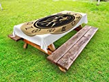 Ambesonne Zodiac Gemini Outdoor Tablecloth, Birth Fortune and Prediction Cosmic Themes Circular Design Twins, Decorative Washable Picnic Table Cloth, 58 X 120 inches, Sand Brown Black White