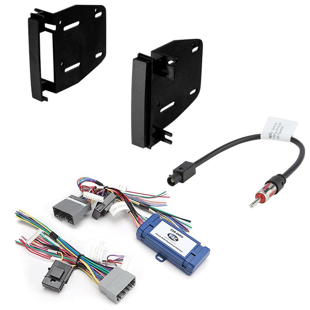 Car Radio Stereo CD Player Dash Install Mounting Trim Bezel Panel Kit + Harness for Select Chrysler Dodge Jeep Mitsubishi Volkswagen Vehicles