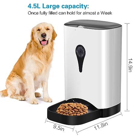 UUNITONA Comedero automático de Mascotas para Gatos y Perros Dispensador de Alimentos 4.5L con Temporizador de Control Remoto WiFi Programable Alimentación ...