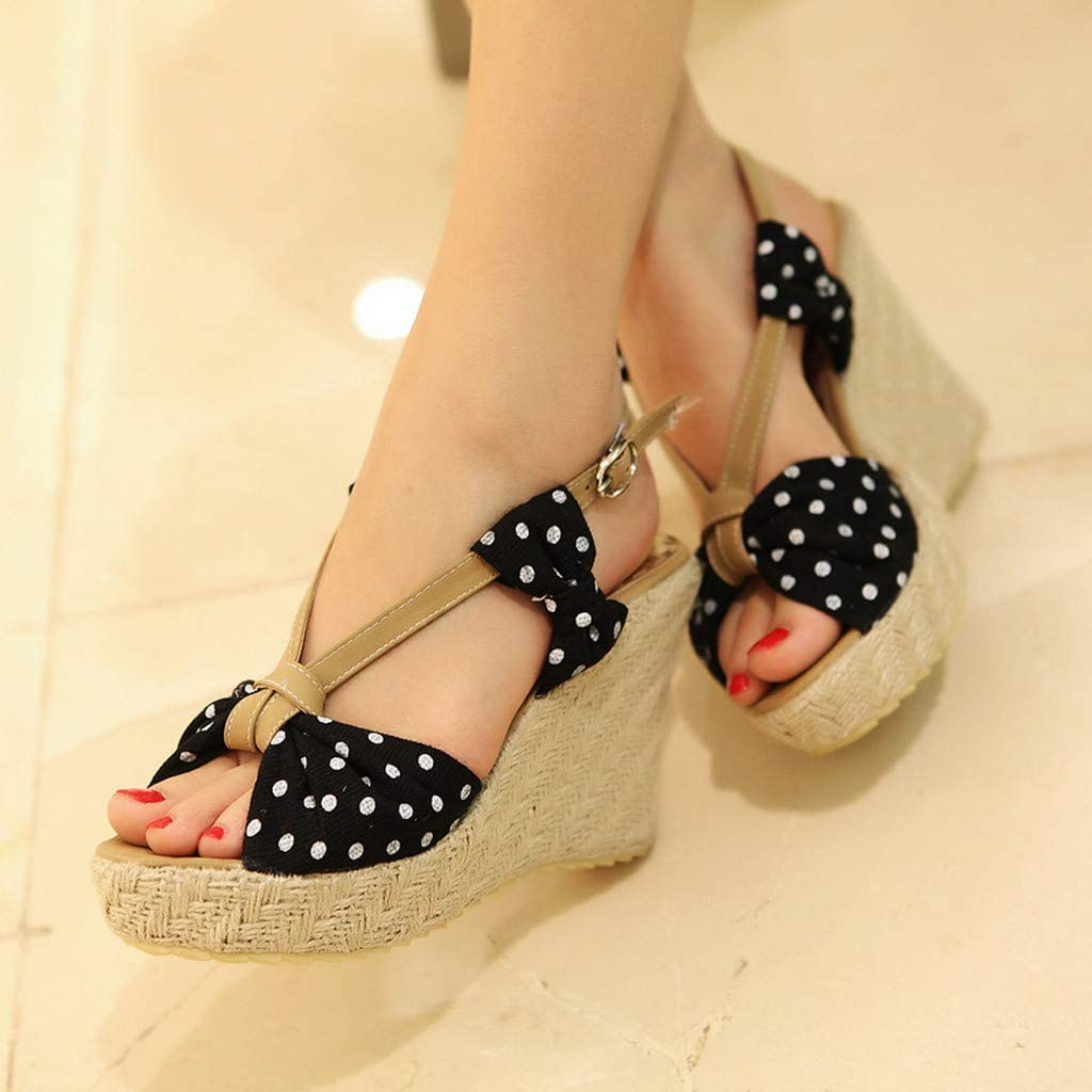 Womens Casual Wedges Flats Platform Sandals Ankle Comfy Shoes Slippers with Fish Mouth
