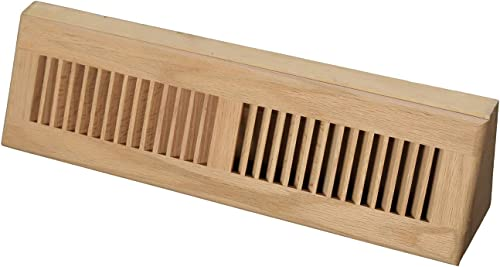 WELLAND 18 Inch Red Oak Hardwood Vent Baseboard Diffuser Wall Register, Unfinished