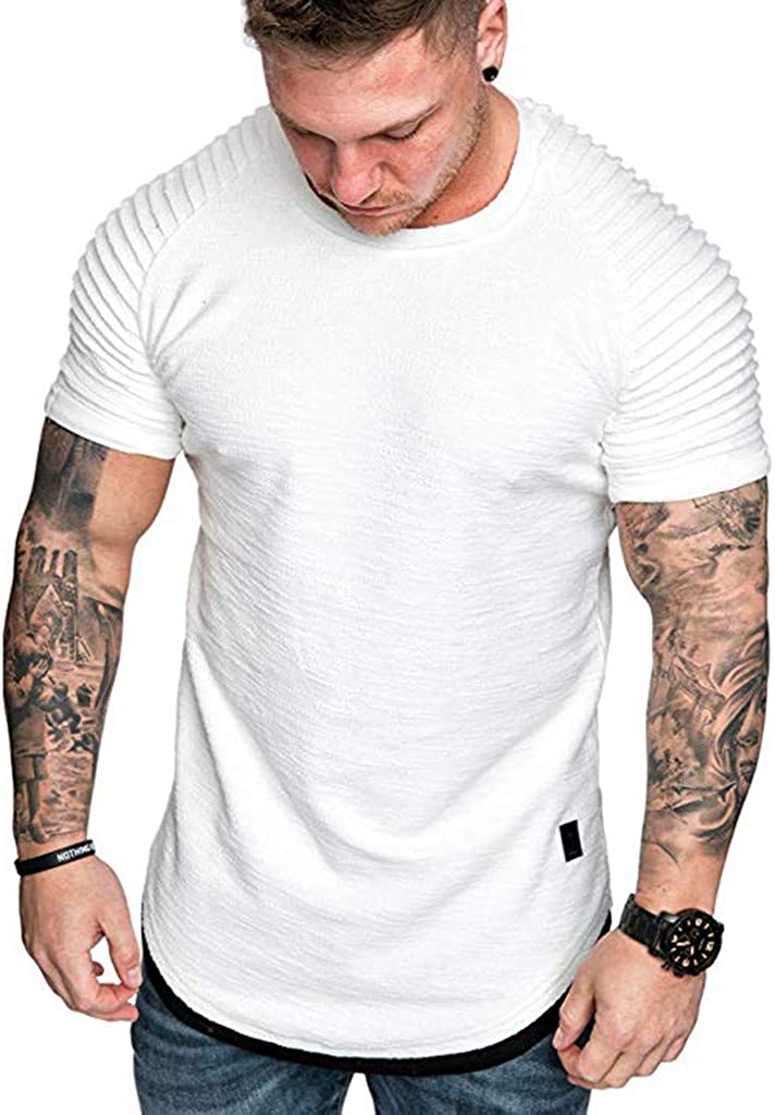 Topgee Men Workout Fitness T-Shirt Sports Shoulder Pleated Gym Shirt Top Blouse