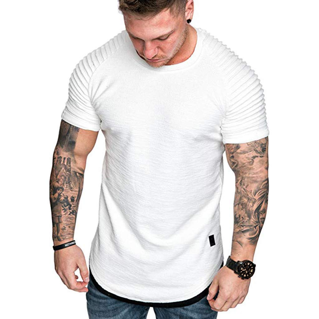 YOMXL Men's Pleated Raglan Short Sleeve T-Shirt Classic Crew Neck Slim Fit Muscle Tees Top T Shirt White by YOMXL
