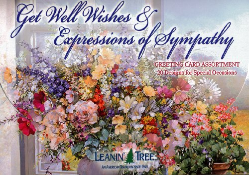 Get Well Wishes & Expressions of Sympathy - [AST90663] Leanin' Tree Greeting Card Assortment - 20 cards with full-color interiors and 22 designed envelopes (Leanin Tree Boxed Cards)