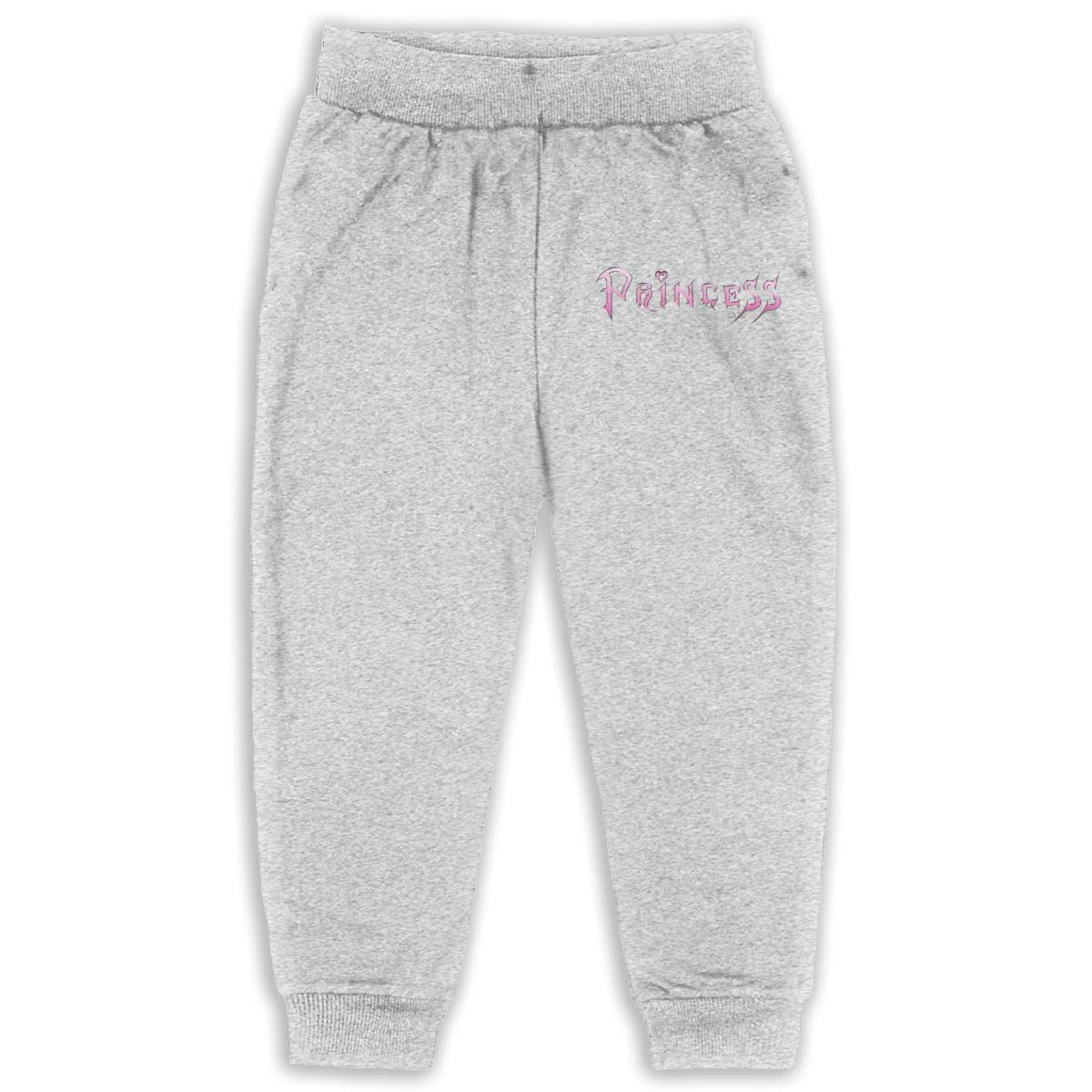 Art Word Pink Princess Children Cartoon Cotton Sweatpants Sport Jogger Elastic Pants