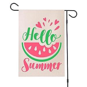 MFGNEH Hello Summer Watermelon Garden Flag 12 x 18 Inch Vertical Double Sided Farmhouse Yard Outdoor Decorations Flag