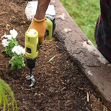 Broca helicoidal para jardín con espiral, herramienta para cultivar suelos, semillas, árboles, arbustos, bulbos y hierba (1,6 x 22,8 cm, incluye un par de guantes): Amazon.es: Amazon.es