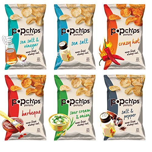 Popchips Potato Chips, 6 Flavor Variety Count, 0.8 Ounce (Popchips Bbq Potato Chip)