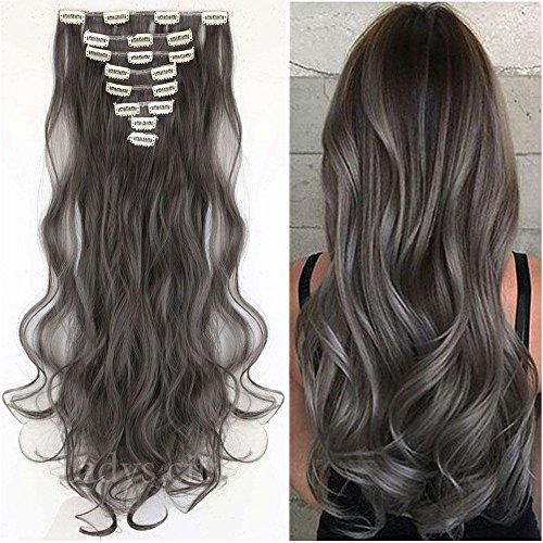 (S-noilite 8 Piece 24 Inches (61cm) Curly Synthetic Thick Full Head Hair Extension 18 Clips Clip-on Hairpieces (Dark Grey))