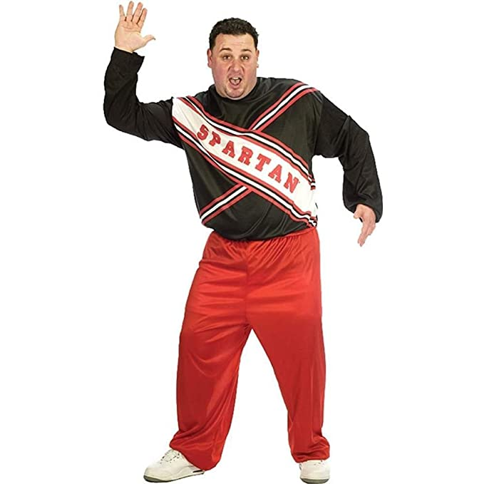 amazoncom fun world cheerleader spartan guy plusredblackx large clothing