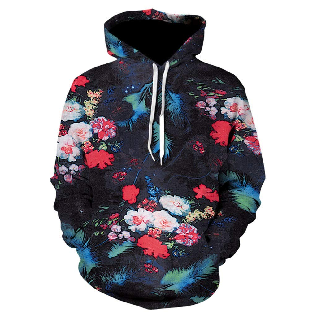 Unisex Realistic 3D Print,AcisuHu-Hundred Flowers Patterns Pullover Hoodie Hooded Sweatshirt for Student Girls