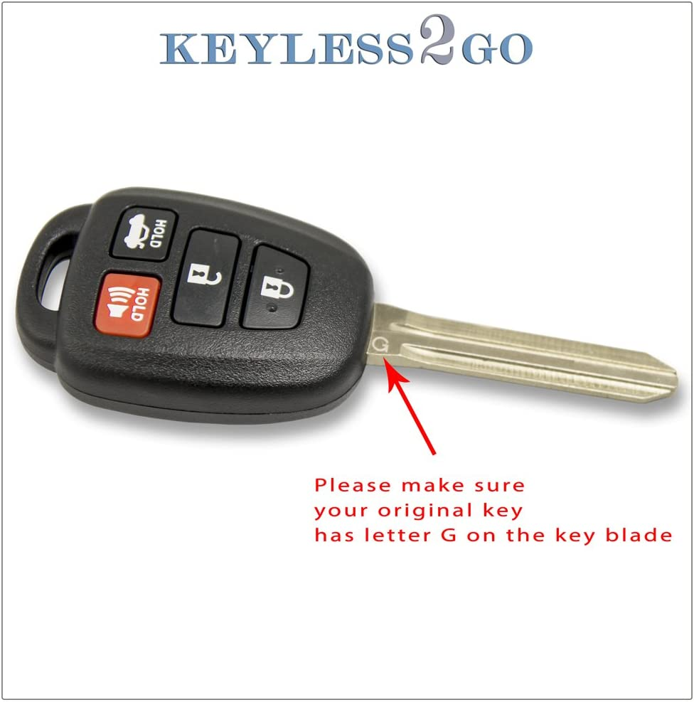 2 New Uncut Blade; by AutoKeyMax Replacement for 2012-2014 Toyota Camry Key Fob Keyless Entry Car Remote HYQ12BDM G Chip
