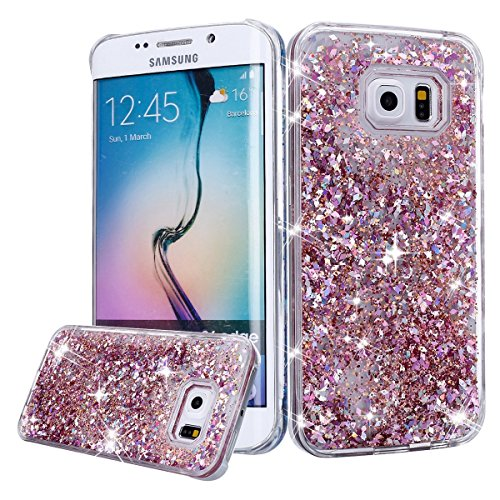 Urberry Galaxy S6 Case, Bling Glitter Case, Floating Liquid Sparkle Hard Case for Samsung Galaxy S6 with a Free Screen Protector