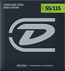 Dunlop DBS55115 Stainless Steel Bass Strings, Extra Heavy, .055–.115, 4 Strings/Set
