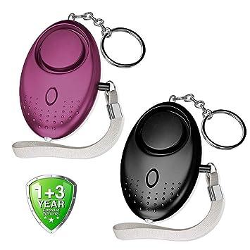 Alarma Personal 2 Piezzi 140dB Dispositivo de Alarma Llavero Alarma de Seguridad Autodefensa con Linterna LED por Abree