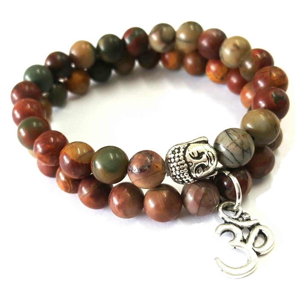 Young & Forever D'vine Set of 2 Yoga & Meditation Om charm buddha Reiki beads bracelet (Picasso Jasper) by Young & Forever