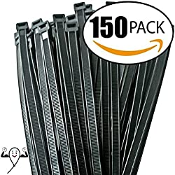 12-inch Zip ties by Strong Ties. 150 Double Heavy Duty Cable Wire Ties 120lbs Tensile Strength. Super Value Maximum Thickness Black Ties for Indoor and Outdoor Use. UV Resistant