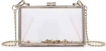 Women Clear Purse Acrylic Box Evening Clutch Bag Crossbody Shoulder Handbag for Prom Bridal & Bachelorette Party