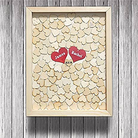 Amazon.com: Wedding Guest Book Rustic Heart Frame Drop Box Wooden ...