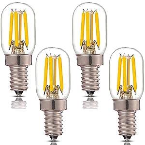 Lxcom E12 LED Bulb ETL 4W Salt Lamp Light Bulbs T7 Refrigerator Bulb 250lm 5700K Daylight White 40W Appliance LED Filament Bulbs E12 Candelabra Base, 4 Pack