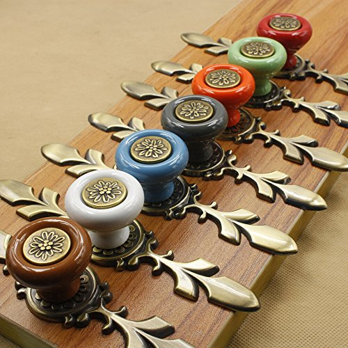 Sytian® 7pcs Multicolor High Quality Vintage Style Ceramic Pumpkin Drawer Knobs Dresser Cabinet Cupboard Wardrobe Pull Handles Door Knobs - With Screw