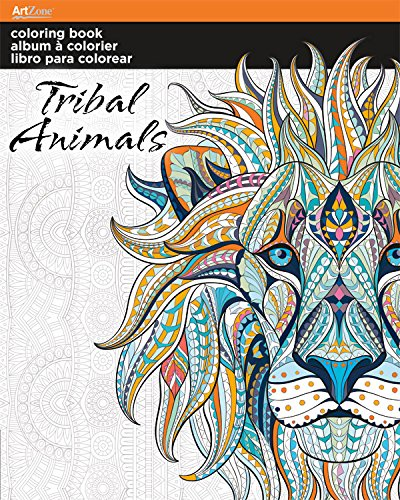 trends international adult coloring book tribal animals designs