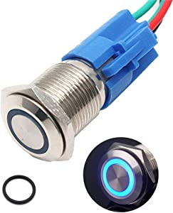 """Sydien 110V-220V 3A Latching/Self-locking Push Button Switch with Wire Connector Socket Plug for 16mm /0.63"""" Mounting Hole"""