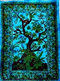 Wall Art All Purpose Multi Color Tree of Life Birds Mandola Tie Die Wall Hanging Tapestry 100% Cotton (Teal)