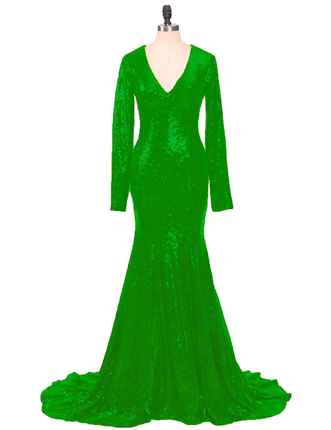 Emerald CIRCLEWLD Sequins Mermaid Evening Gowns Long Sleeves Sleeveless for Women Wedding Party E122