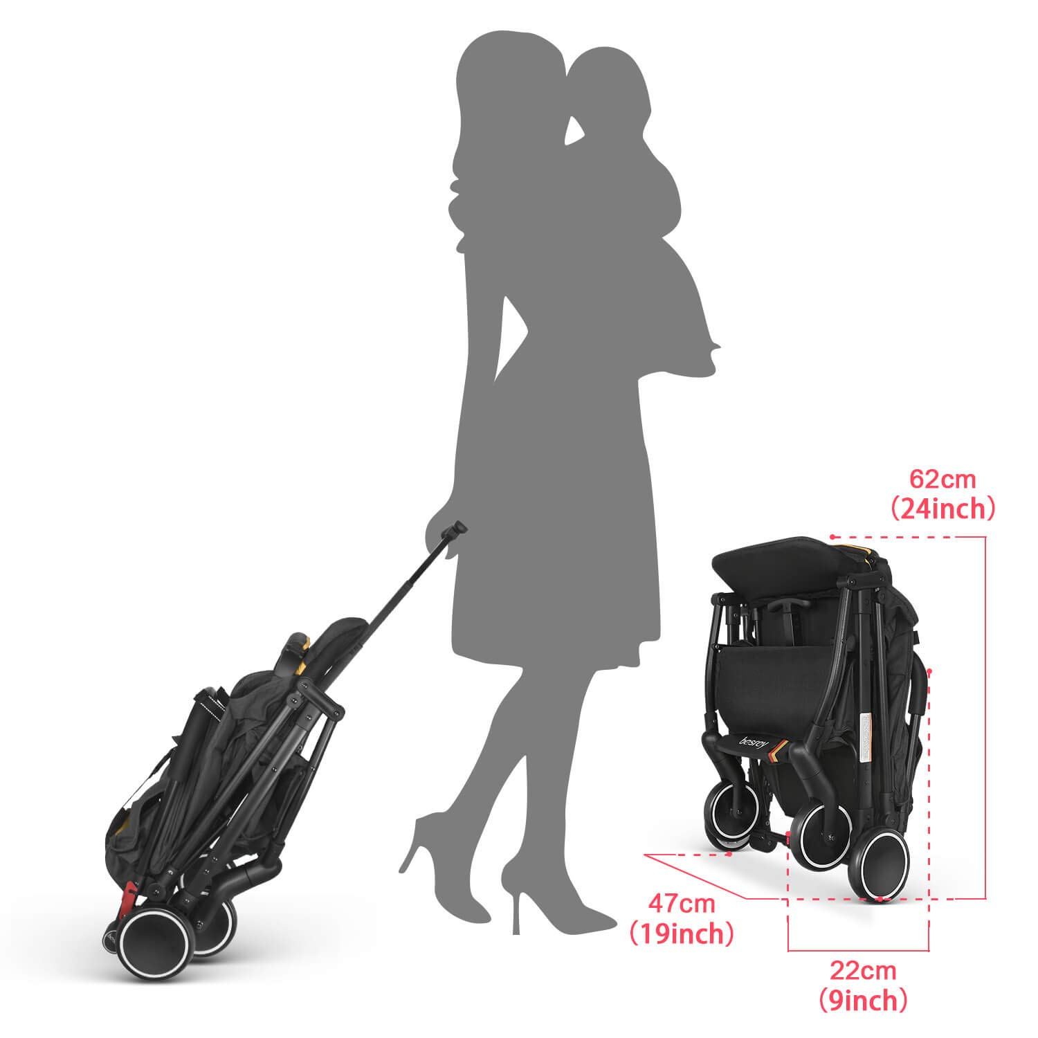 Dark Gray besrey Baby Stroller Pram Baby Carriage Reclining Seat for Airplane Compartment