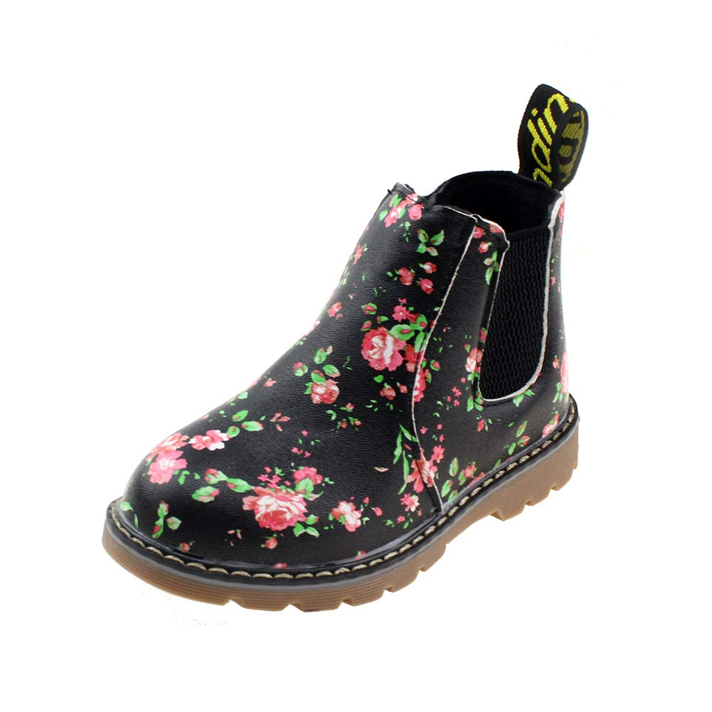 Boy's Girl's Floral Ankle Boots, Waterproof Side Zipper Rain Shoes, Black, 5.5 M US Toddler