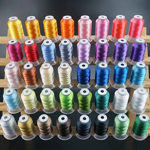 New brothread 40 Brother Colors Polyester Embroidery Machine Thread Kit 500M (550Y) each Spool for Brother Babylock Janome Singer Pfaff Husqvarna Bernina Embroidery and Sewing Machines (Thread Color Chart)