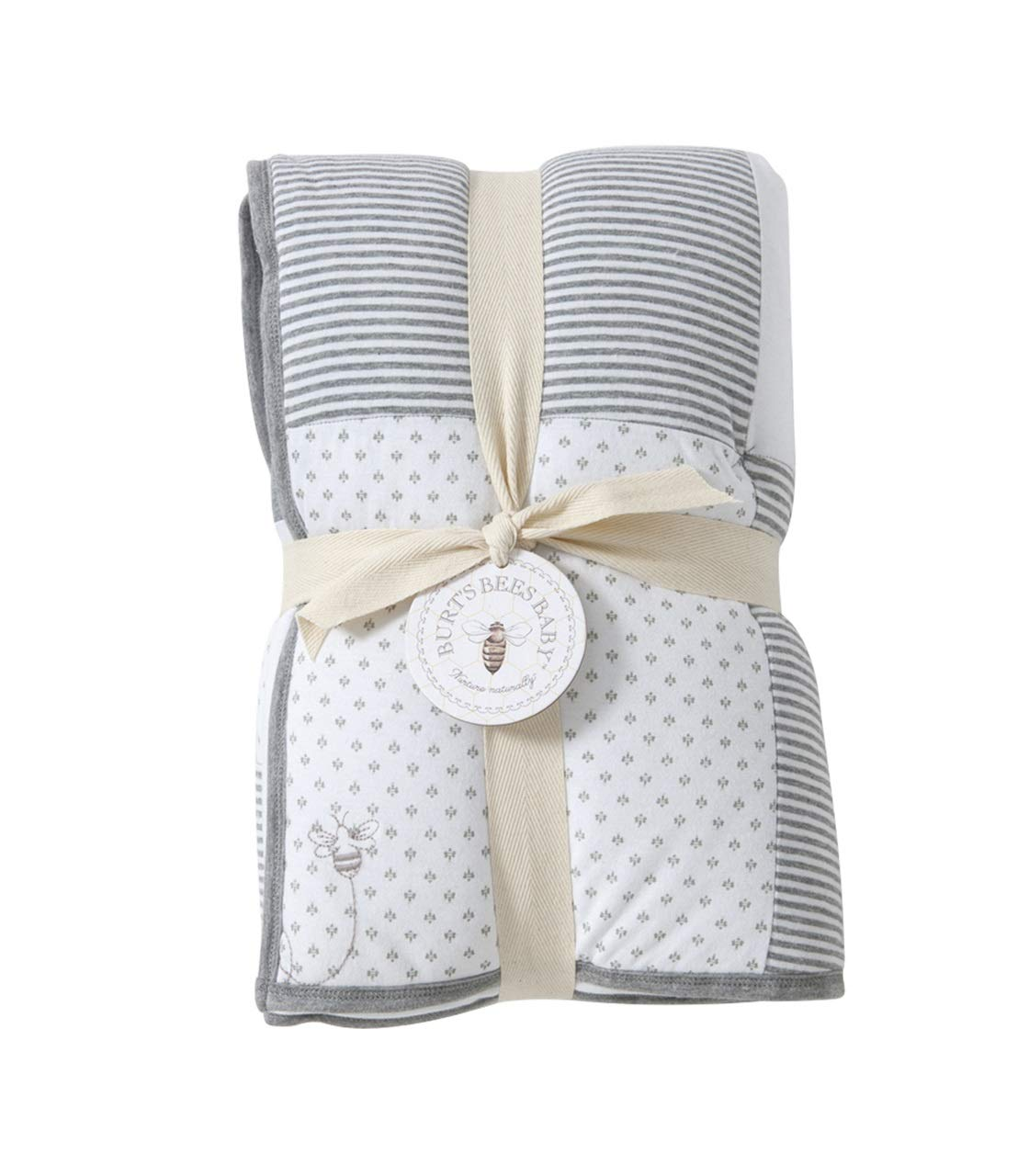 Burt's Bees Baby - Reversible Quilt Baby Blanket, Dottie Bee Print, 100% Organic Cotton and 100% Polyester Fill (Heather Grey) by Burt's Bees Baby