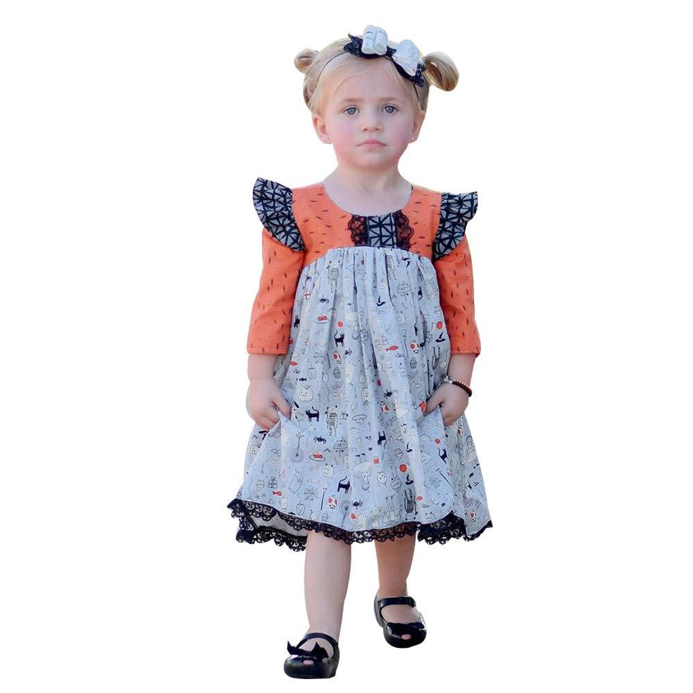 Vestiti del Vestito dalla Principessa del Pizzo del Fumetto della neonata dei Bambini del Bambino di Halloween, YanHoo (0M-4anni) Gonna di Halloween in Pizzo a Maniche Lunghe per Bambini
