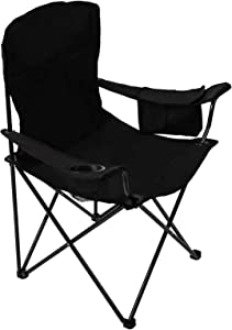 Pacific Pass Full Back Quad Chair for Outdoor and Camping with Cooler and Cup Holder, Carry Bag Included, Supports 300lbs, Middle, Black