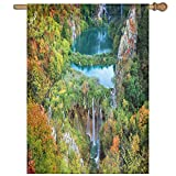 HUANGLING Scenic Fall Valley In Mountains Of Plitvice Lakes National Park Croatia Decorative Home Flag Garden Flag Demonstrations Flag Family Party Flag Match Flag 27''x37''