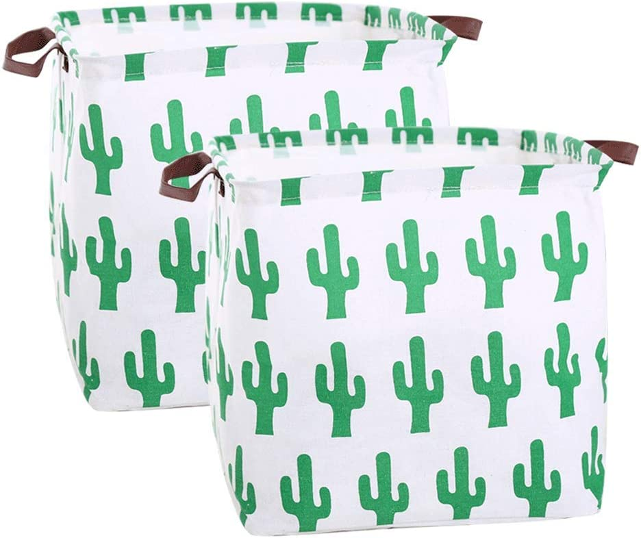 Gift Baskets,Pack of 2 Cactus BESIYIN 13 Square Canvas Toy Storage Bins Basket with Handle Collapsible Toy Organizer for Nursery Storage Kids Toy /& Laundry