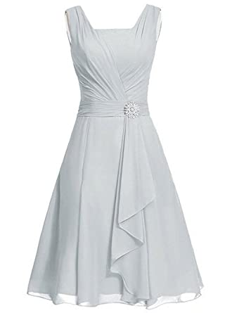 Fashionbride Womens Chiffon Layers Bridesmaid Chiffon Prom Dresses Evening Gowns Light Gray 8