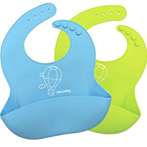Silicone Baby Bibs Set of 2 - Waterproof, Soft, Unisex, Non Messy,Easily Wipe Clean,2 Colors for Babies & Toddlers (10-72 Months)