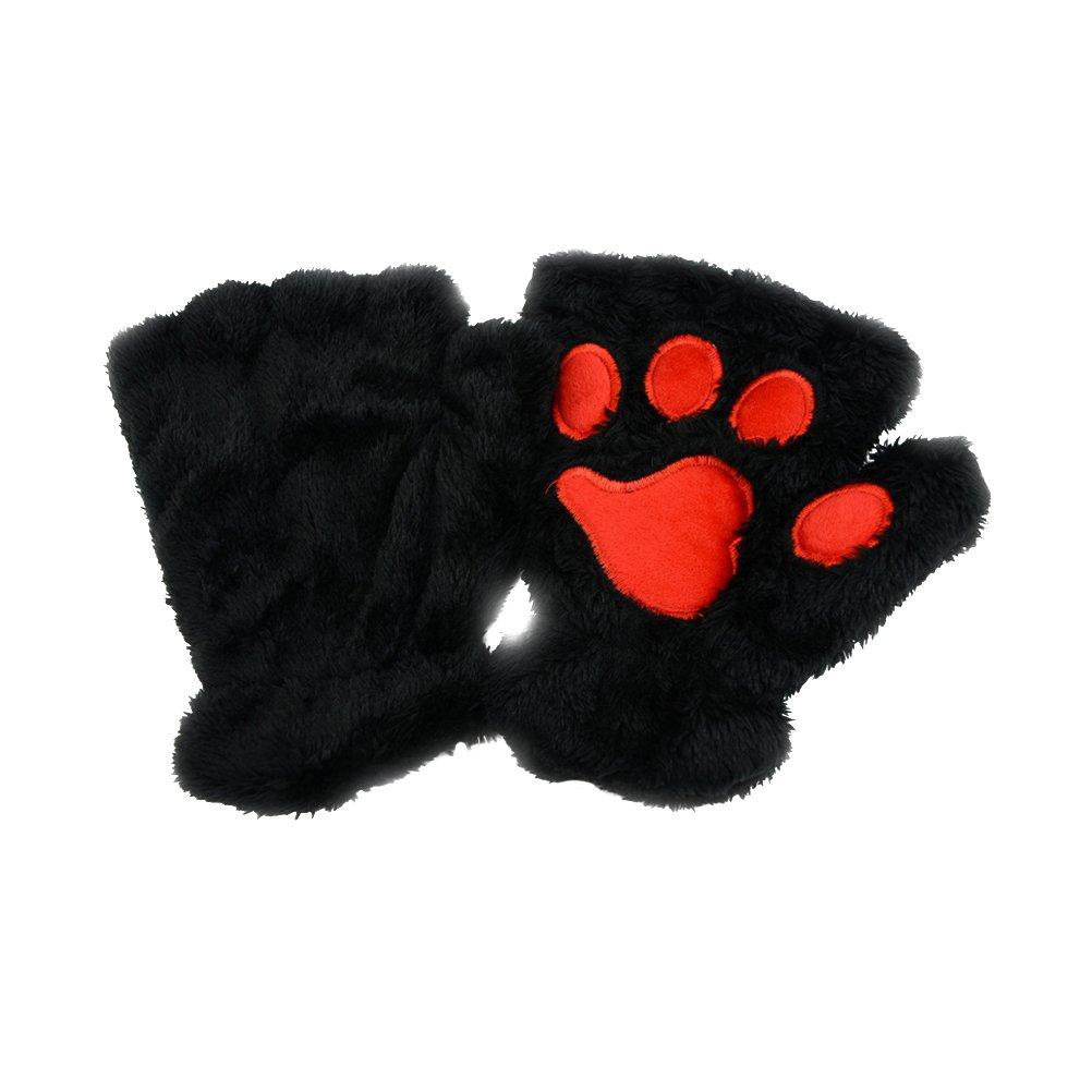 OULII Winter Cute Cat Claw Dog Paw Plush Mittens Short Fingerless Gloves Half Finger Gloves Christmas Birthday Gift for women girls (Black) HW7FVD47FT42212EP5K3T